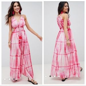NWT ASOS Tie Die Halter Tassel Maxi Beach Dress